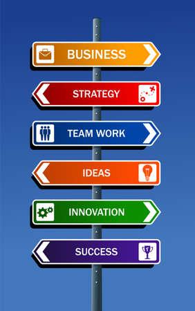 Affaires concepts de stratégie de la route de poste pour le succès Vecteurs