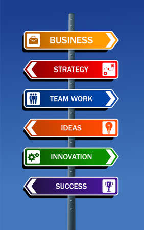 social system: Business strategy road post concepts for success  Illustration