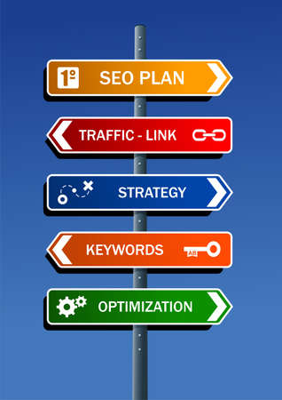 Search engine optimization  SEO  plan in road post Vector