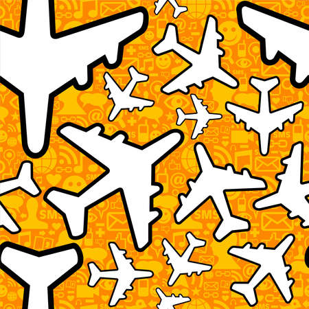 Social media networking in travel business. Airplane symbol pattern over icon set seamless pattern background.  file layered for easy manipulation and custom coloring. Stock Vector - 14574548