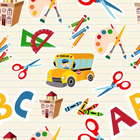 escuela primaria: Herramientas de la escuela y el archivo de fuentes sin patrón en capas para la manipulación fácil y personalizada para colorear