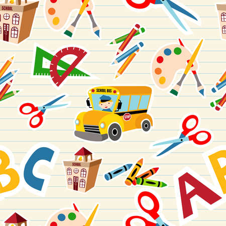 primary colours:  School tools and Supplies seamless pattern   file layered for easy manipulation and custom coloring