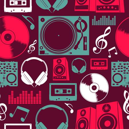 funky music: Dj icon set seamless pattern  file layered for easy manipulation and custom coloring