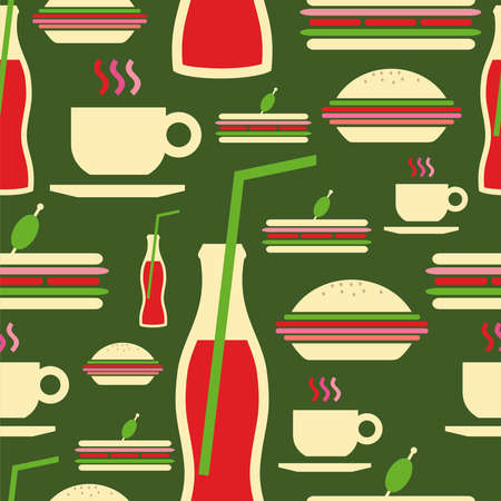 Cartoon style fast food icons set seamless pattern file layered for easy manipulation and custom coloring  Vector