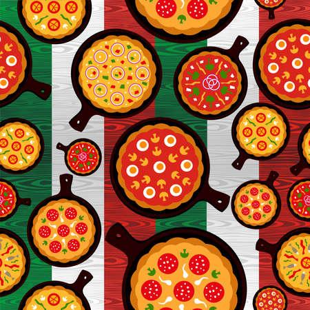 restaurante italiano: Diferentes sabores pizza patr�n transparente sobre madera con textura de fondo de la bandera italiana archivo de capas para la manipulaci�n f�cil y colorante de encargo