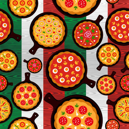 Different Pizza flavors seamless pattern over wooden textured Italian flag background file layered for easy manipulation and custom coloring Vector Illustration