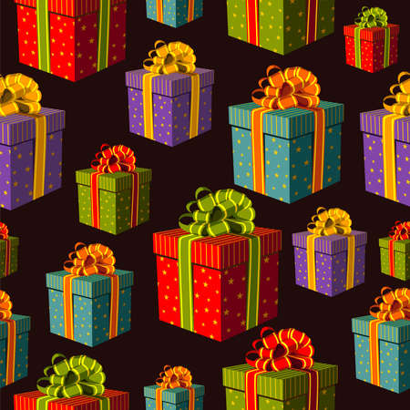 Colorful gift boxes with important ribbons pattern on black background file layered for easy manipulation and custom coloring  Vector