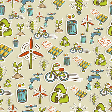 Ecology icon set seamless pattern   file layered for easy manipulation and custom coloring