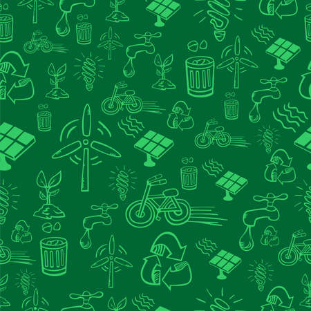 Go green icon set seamless pattern  file layered for easy manipulation and custom coloring  Vector