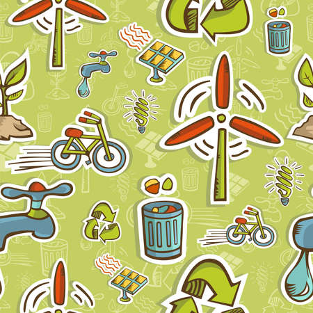 Green icons pattern on seamless icon background  file layered for easy manipulation and custom coloring  Stock Vector - 14574559