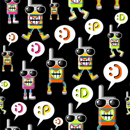 top animated: Group of funky MOBILE PHONES seamless pattern over black background  Vector file layered for easy manipulation and custom coloring  Illustration