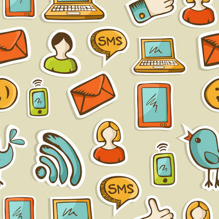 sociology: Social media cartoon icons colorful seamless pattern file layered for easy manipulation and custom coloring  Illustration