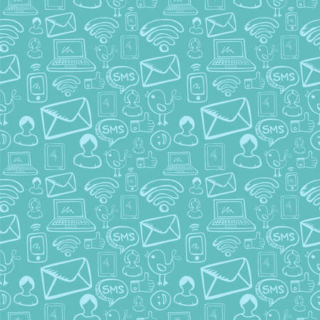 Social media cartoon icons seamless pattern over sky blue background file layered for easy manipulation and custom coloring  Vector