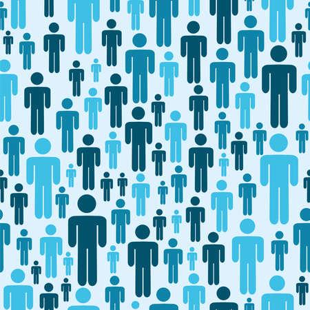 sociologia: Las redes sociales la gente azul archivo de patrones sin fisuras en capas para una fácil manipulación y colorante de encargo Vectores
