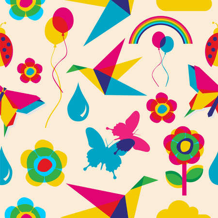 Colorfull spring summer origami seamless pattern file layered for easy manipulation and custom coloring  Vector