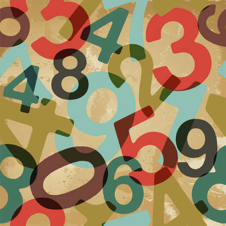 Retro numbers set seamless pattern   file layered for easy manipulation and custom coloring Vector