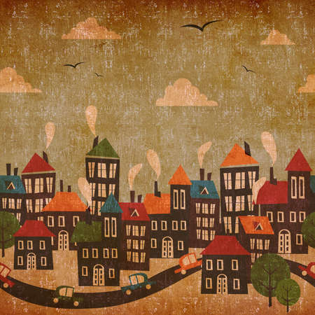 retro vintage: Abstract winter city vintage colorful background  Stock Photo