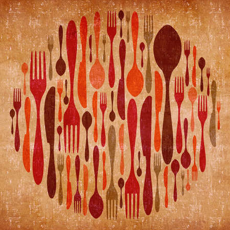 Abstract cutlery vintage colorful background  photo
