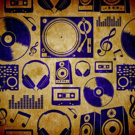 Dj music icon set vintage seamless pattern background  photo