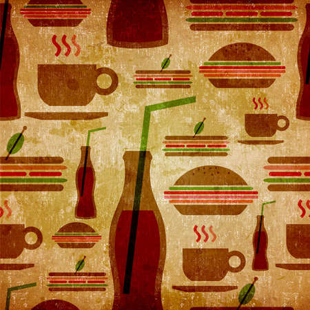 fast eat: Vintage fast food icons set seamless pattern  Stock Photo