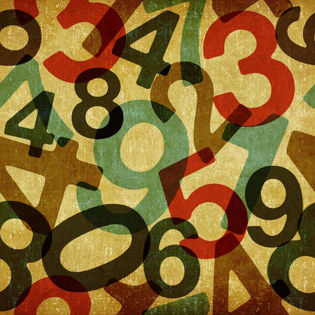math paper: Retro numbers set in textured seamless pattern