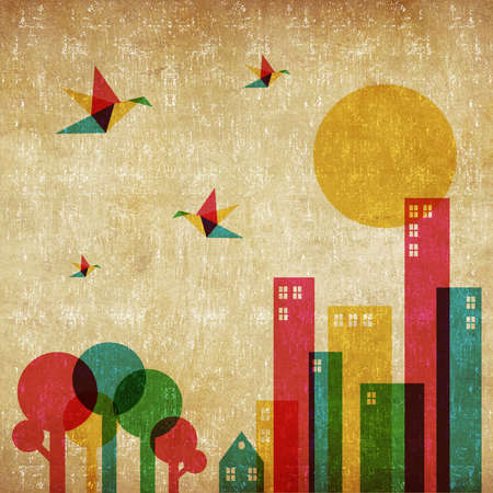 urban jungle: Vintage spring time in the city background  Colorful humming birds flying over the forest and city   Stock Photo