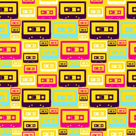 Pop audio cassette seamless pattern file layered for easy manipulation and custom coloring. Vector