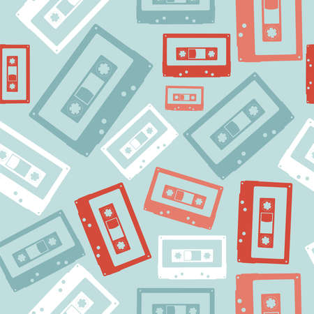 magnetic clip: Vintage analogue audio tapes seamless pattern file layered for easy manipulation and custom coloring