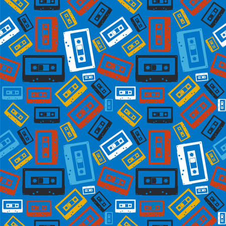 Vintage analogue audio cassette seamless pattern file layered for easy manipulation and custom coloring  Vector