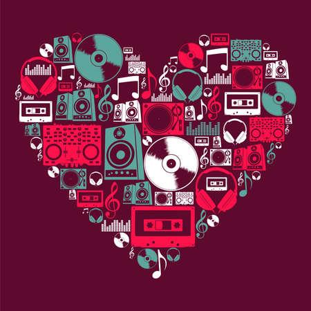 musica electronica: M�sica de DJ set de iconos en el archivo de forma de coraz�n el amor de capas para la manipulaci�n f�cil y personalizada para colorear Vectores