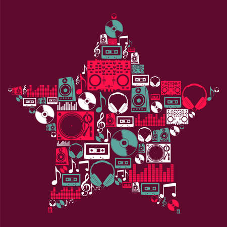 Dj music icon set in star shape file layered for easy manipulation and custom coloring  Vector