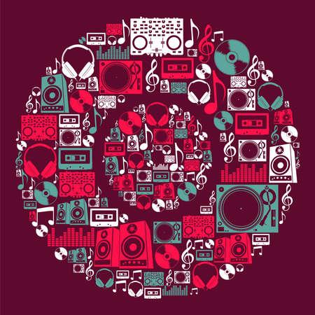 electronic music: Dj music set di icone in file a forma di disco in vinile a strati per una facile manipolazione e la colorazione personalizzata Vettoriali
