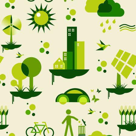 desarrollo sustentable: Desarrollo de la ciudad sostenible con la conservación del medio ambiente iconos de archivo de patrones sin fin en capas para la manipulación fácil y personalizada para colorear