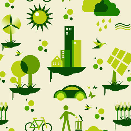 Sustainable city development with environmental icons conservation endlessly pattern file layered for easy manipulation and custom coloring  Vector