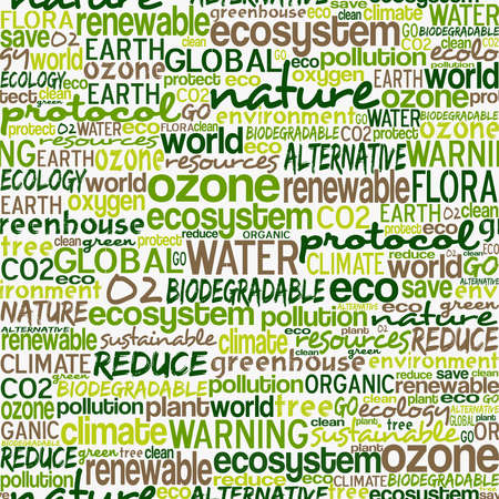 biodegradable: Go green text cloud about environmental conservation pattern background file layered for easy manipulation and custom coloring  Illustration