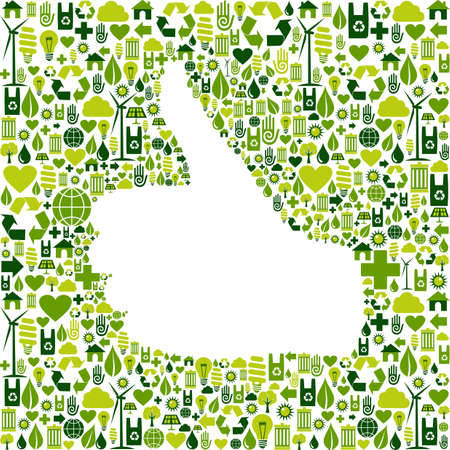 Thumb up hand over Go green icons texture background file layered for easy manipulation and custom coloring Vector