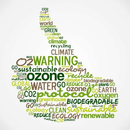 ozon: Go green text Wolke Daumen Handform-Datei für eine einfache Handhabung und individuelle Färbung geschichtet