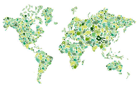 positive energy: Go green human hands icons in World map composition background file layered for easy manipulation and custom coloring Illustration