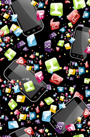 mobile phones: Smart phone application icons seamless pattern background  Vector file layered for easy manipulation and customisation