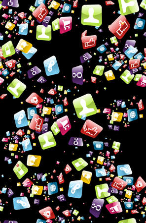 Mobile app icons seamless pattern background file layered for easy manipulation and customisation  Vector