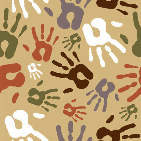 Diversity Vintage hand prints seamless pattern background  Vector file layered for easy manipulation and custom coloring  Vector