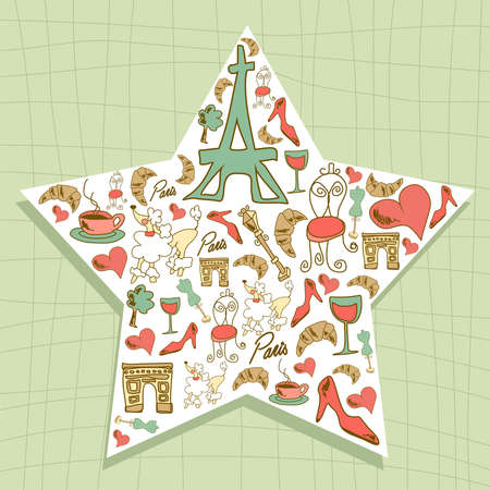 Hand drawn travel paris icon set star file layered for easy manipulation and custom coloring  Vector