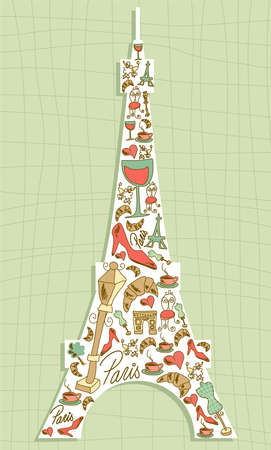 paris illustration: Hand drawn travel paris icon set in Eiffel tower shape  file layered for easy manipulation and custom coloring  Illustration