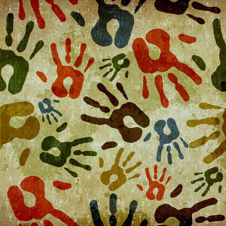 cohesion: Vintage human hands print seamless pattern background