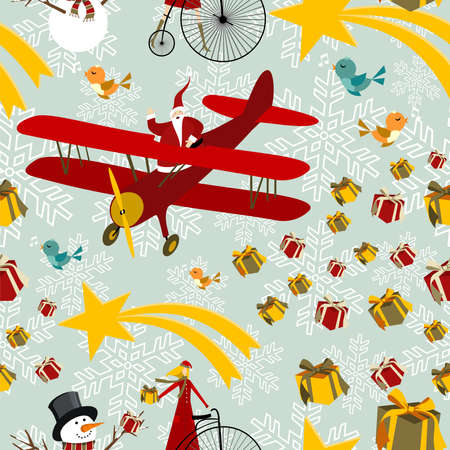 flying hat: Christmas seamless elements background pattern. Vector illustration layered for easy manipulation and custom coloring.