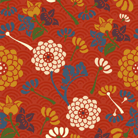 Asian flowers seamless pattern background. Vector illustration layered for easy manipulation and coloring. Vector