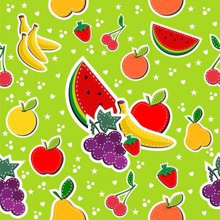 gastronomic: Contemporary sewing fruits seamless pattern. Vector illustration layered for easy manipulation and custom coloring. Illustration