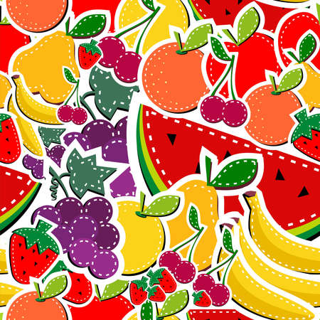 Sewing fruits seamless pattern in block colors. Vector illustration layered for easy manipulation and custom coloring. Vector