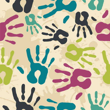 ragged: Diversity Vintage hand prints seamless pattern background. Vector file layered for easy manipulation and custom coloring.