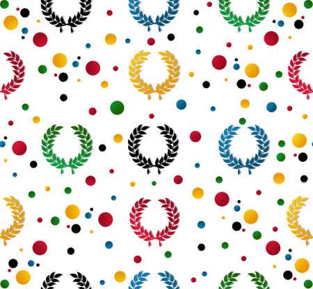lineas rectas: Colored corona de laurel y los puntos de fondo sin fisuras patrón. Ilustración vectorial en capas para una fácil manipulación y personalización. Vectores